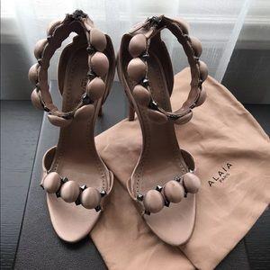 Alaia bombe satin pink blush heels